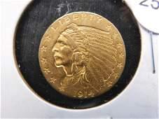 1914 - GOLD 2 1/2 Dollar Indian Head  Quarter Eagle