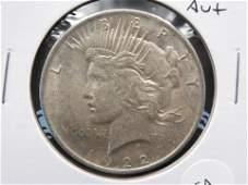 1922 Peace $1.  AU+.