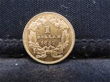 1857 Type 3 $1.00 Gold Scarce Pre-Civil War Dated Gold