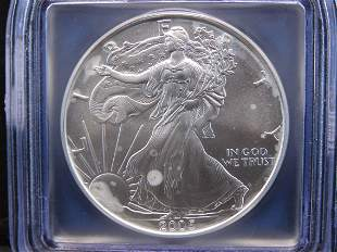 2005 Gem Uncirculated Silver American Eagle Graded MS70