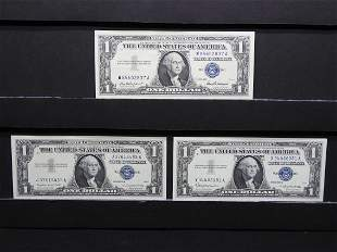 (3) $1 Silver Certificates.  1957, 57 A, and 57 B.