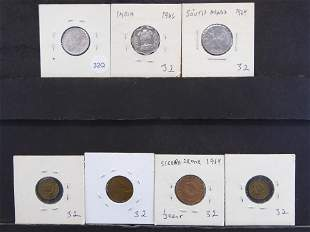 Seven Foreign Coins all carded in 2x2's