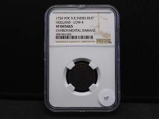 1734 VOC NE INDIES DUIT HOLLAND Low 4 Graded by NGC VF
