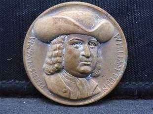 1950s, 60s, William Penn Bronze Medal from the Medallic
