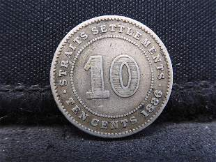 1886 Straits Settlements 10 Cents 80% Silver Coin.