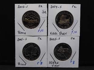 (4) different Proof Westward Journey Jefferson nickels: