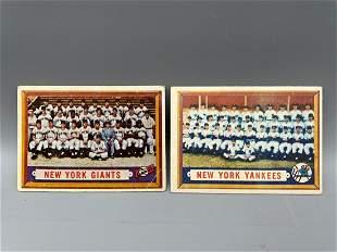 1957 Topps New York Giants #317 & New York Yankees #97