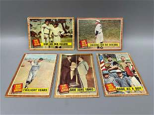 1962 Topps Lot of 5 Babe Ruth Special Cards - Low to
