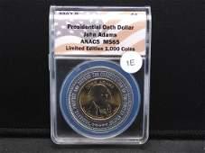 2007-D $1 Presidential Oath Dollar John Adams ANACS