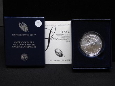 2014 W UNC. American Silver Eagle US Mint One Ounce OGB