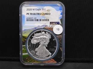 2020-W American Silver Eagle PF 70 Ultra Cameo NGC