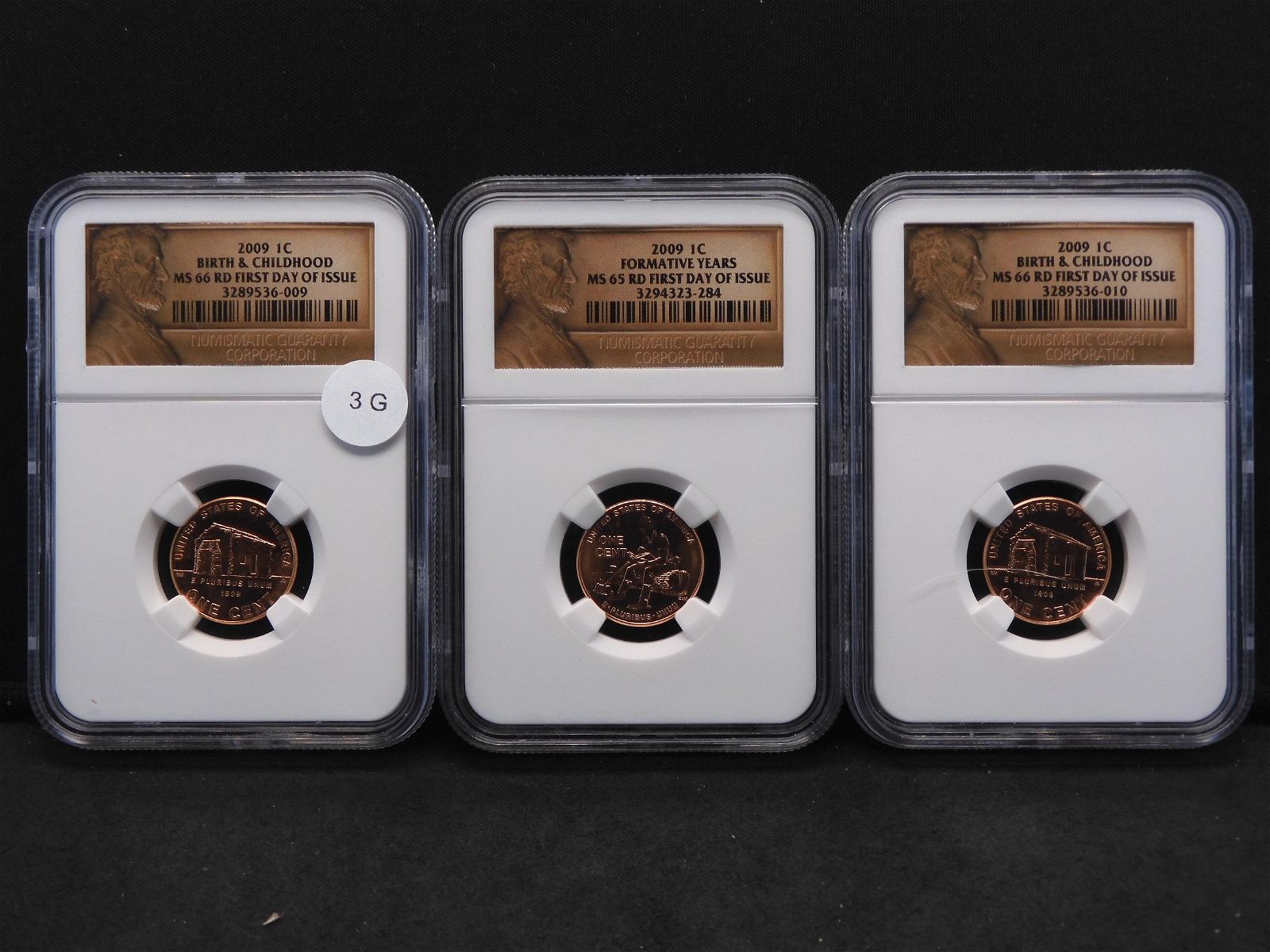 Three 2009 Lincoln Cents NGC MS66RD First Day of Issue
