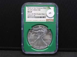 2013--S American Silver Eagle MS 69 by NGC