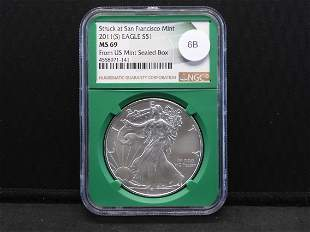 2011--S American Silver Eagle MS 69 by NGC