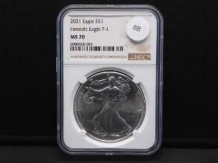 2021 American Silver Eagle Heraldic Eagle T-1 MS 70 NGC