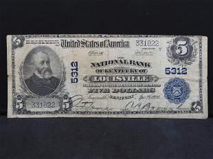 1920 Louisville, Kentucky $5 U.S. National Currency