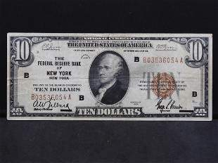 1929 $10 National Currency Note Federal Reserve Bank of