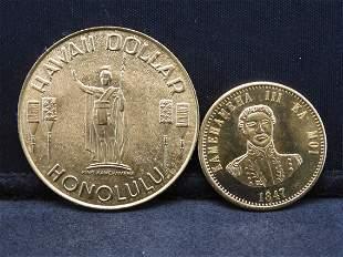 Hawaii Dollar and copy of 1847 Hawaii Cent. .