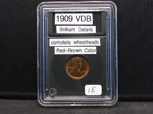 1909 VDB Wheat, Complete Wheat Heads, Brilliant
