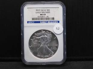 2010 $1 Eagle Early Releases NGC graded MS69
