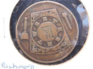 Nice old masonic penny from Richmond VA.