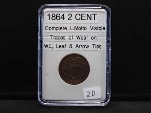 """1864 2 Cent, Complete Motto, Traces of wear on """"WE"""","""