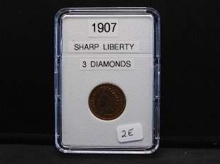 1907 Indianhead, Sharp Liberty, 3 Diamonds