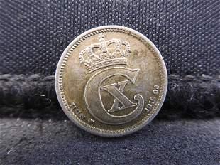 1919 Denmark 10 Ore 40% Silver Coin.