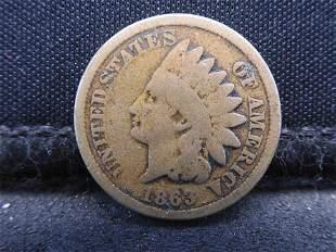 1863-CN Semi-Key Date Indian Head Cent. Civil War