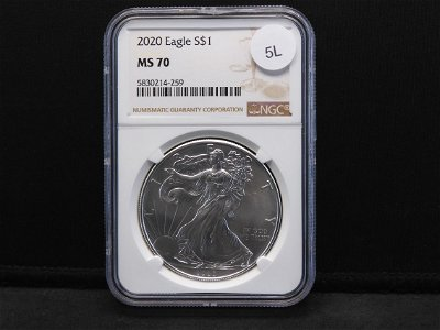 2020 Uncirculated Silver American Eagle Graded MS70 By