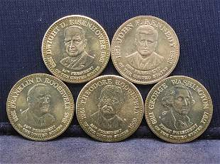 5 Different Presidential Medals. F Roosevelt, T