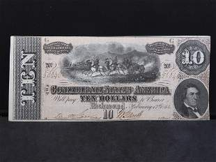 1864 Confederate $10. Bright, Gem Crisp Uncirculated.