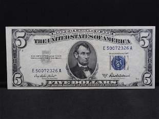 1953 A $5 Silver Certificate. Crisp Uncirculated.