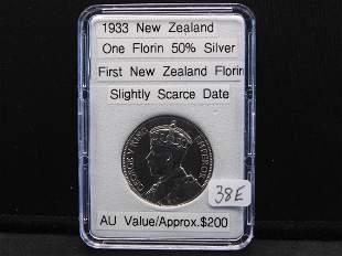 1933 New Zealand 1 Florin,50% Silver, First Florin Coin