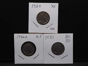 (3) Nice Buffalo Nickels: 1928 XF,1936-S XF. and 1937