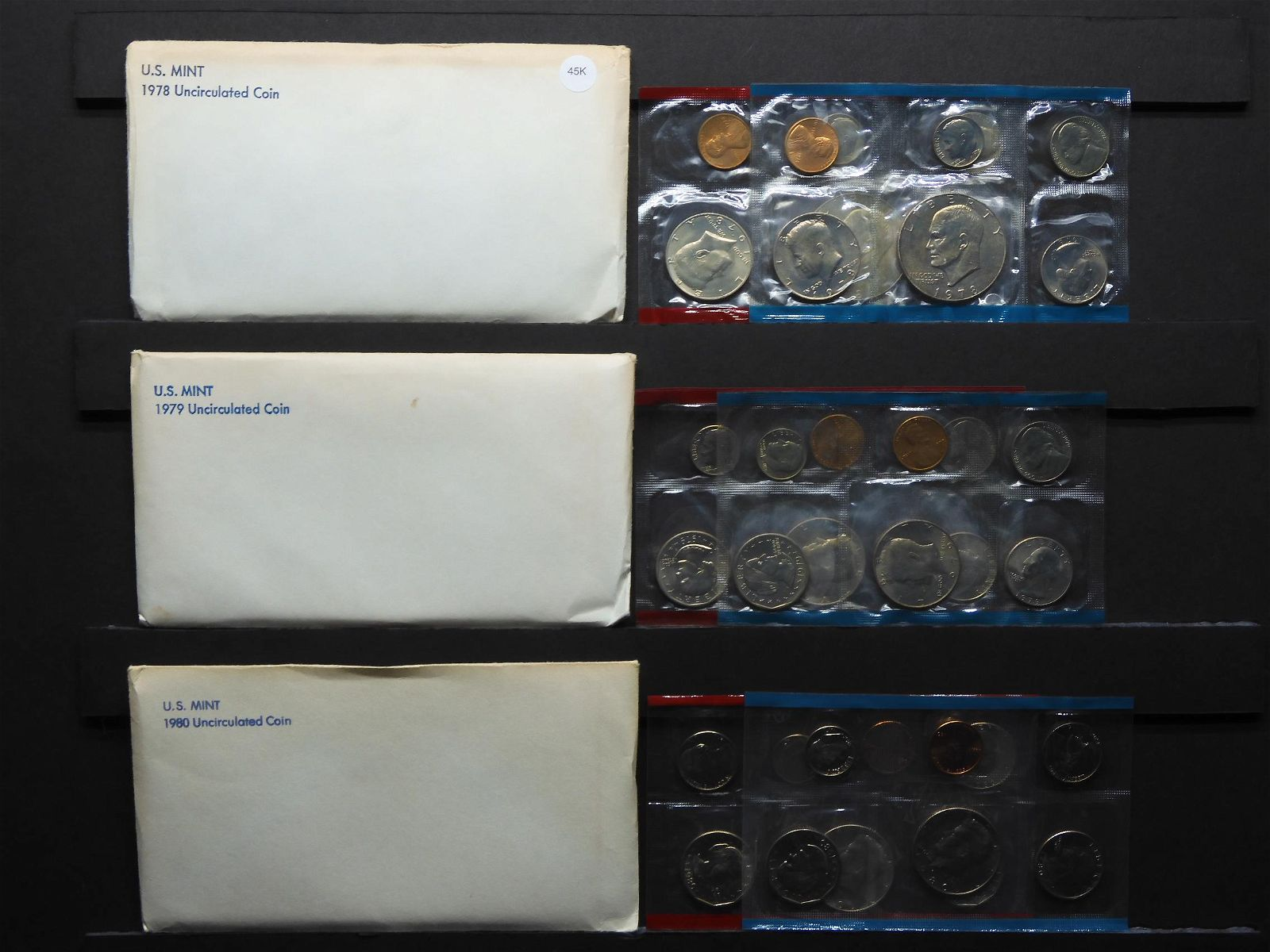 1978 1979 1980 United States 12-Coin Mint Sets With