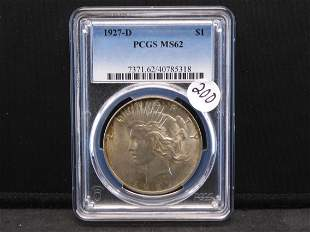 1927-D Peace Silver Dollar. PCGS MS62. TOUGH DATE!!