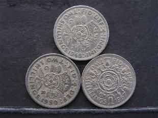 3 Great Brittan Two Shillings 1948,50,67