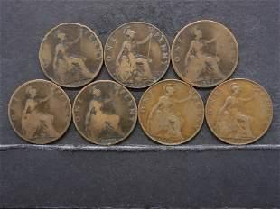 7 Great Brittan One Pennies 1897,98,99,1900,05,07,12