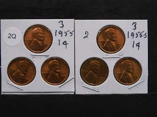 Two Sets of Three 1955 & 1955-S Lincoln Wheat Pennies