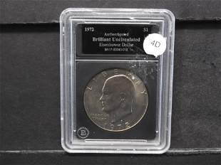1972-D Eisenhower Dollar Authenticated Brilliant Unc.