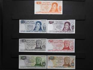 Argentina Seven Note Set One, Five, Ten, Fifty,
