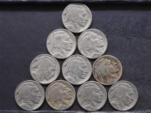 10 Full Date Buffalo Nickels