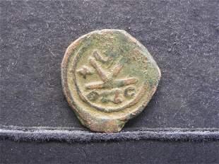 582-602 AD (BYZANTINE/HALF FOLLIS-YEAR 7), VERY