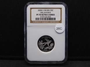 2008-S Silver Oklahoma PF70 Ultra Cameo NGC