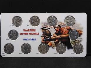 1942 - 1945 Wartime Silver Jefferson Nickels 11 Coin