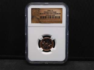 2009 NGC MS66 RD 1st Day Ceremony Lincoln Cent