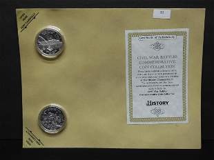 Civil War Battles Comm. 2 Coin Collection on a Nice