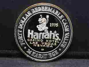 Casino Gaming Token - .999 Silver Center - $40 Harrah's