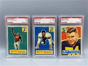 1956 Topps Football Lot of 3 PSA Graded Cards - Tom
